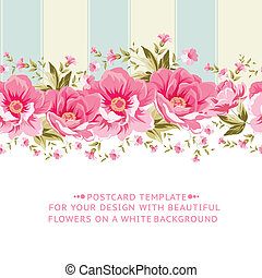 Ornate pink flower border with tile. Elegant Vintage card...