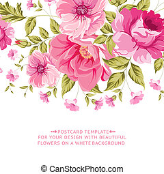 Ornate pink flower decoration with text label. Elegant Vintage Greeting card design. Vector illustration.