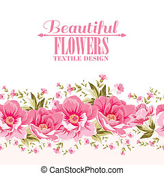 Ornate pink flower decoration with text label. Elegant ...