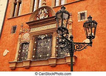 ornate, predios, em, cidade velha, (stare, mesto), praga