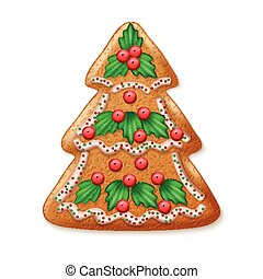 Ornate realistic vector traditional Christmas tree. Vector illustration