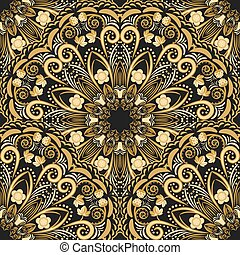 Ornate seamless pattern of golden mandala on black...