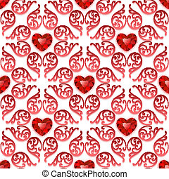 Ornate Seamless Pattern with Ruby Hearts