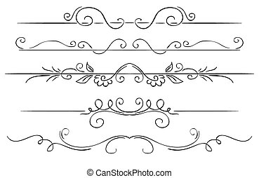 Ornate set of borders on a white background. Hand drawing