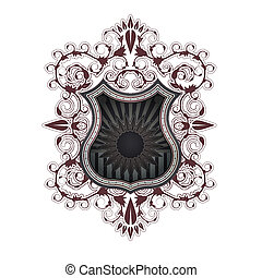 Ornate shield label design template