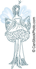 Ornate Silhouette of the elf bride with wings