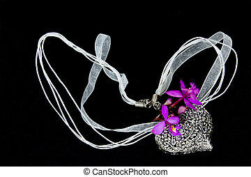 Ornate Silver Locket with Organza Ribbon Necklace