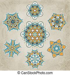 Ornate snowflakes vector set