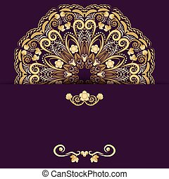 Ornate template for design invitations or Save The Date card. Gold flower mandala on purple background.
