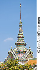 Ornate temple tower Bangkok - an ornate temple tower within...