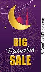 Ornate vector banner on purple background. Islamic backdrop.Rama