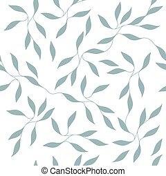 ornate, vetorial, padrão, repetindo, folhas, ramos, seamless, pequeno, ilustração