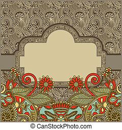 ornate, vindima, modelo, com, ornamental, floral, fundo