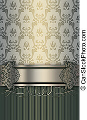 Ornate vintage background with decorative border.