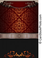 Ornate vintage background with decorative borders.