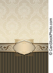 Ornate vintage background with frame and patterns.