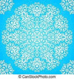 Ornate vintage blue lacy seamless pattern