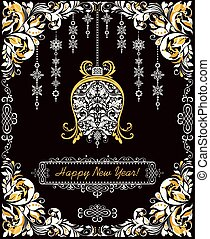 Ornate vintage Christmas greeting card with floral paper cut out border and craft xmas hanging bell and decoration