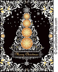 Ornate vintage Christmas greeting card with floral paper cut out border and decorative xmas tree