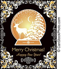 Ornate vintage Christmas greeting card with golden globe, floral paper cut out border and reindeer