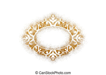 Ornate vintage frame on golden glitter isolated on white background