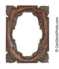 Ornate vintage frame over white background