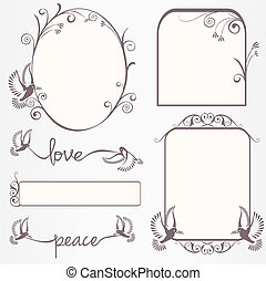 Ornate vintage frame set  with dove