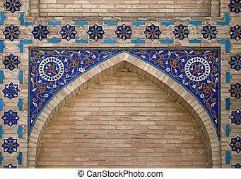 Ornate window niche in the wall, Uzbekistan