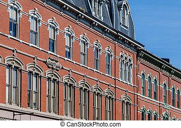 Windows on Old Woodman Building in Portland