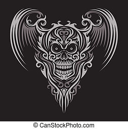 Ornate Winged Skull - fully editable vector illustration...