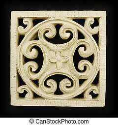 Ornate Wood Carving Ornament on Black Background