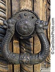 ornated, dörr, järnvaror
