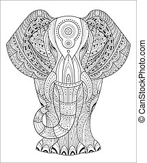 Elephant Vector illustration in Zentangle style. Hand drawn design elements.