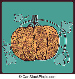 Ornated pumpkin, stylized Halloween card