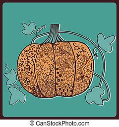 Ornated pumpkin, stylized Halloween card