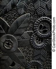 ornately, tallado, puerta