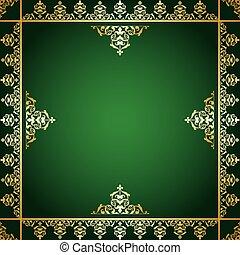 ornement, -, arrière-plan vert, doré