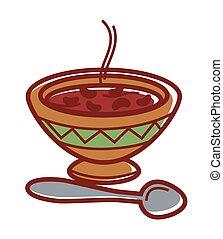 ornement, bol, soupe chaude, haricot, argile