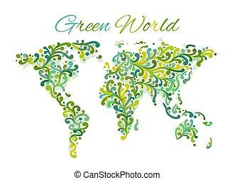 ornement, carte, conception, floral, mondiale, ton