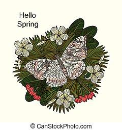 ornement, exotique, flowers., vecteur, plumeria, rond