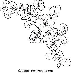 ornement, fleur, conception, element.
