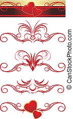 ornement, hearts., motifs