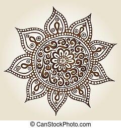 ornement, mandala., pattern., rond