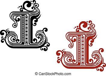 ornement, retro, lettre, capital