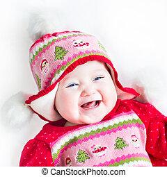 ornement, rire, dorlotez fille, robe, noël, rouges, heureux