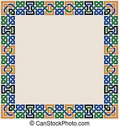 ornement, seamless, coloré, maure, mosaïque