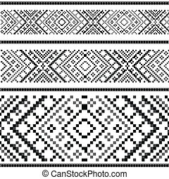 ornement, variantes, black&white, -, ethnique