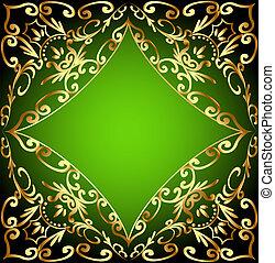 ornementation, or, fond, vert, cadre