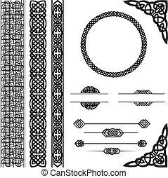 ornements, dans, style celte