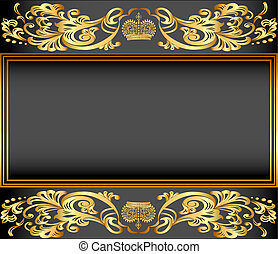 ornements, or, fond, cadre, vendange, couronne